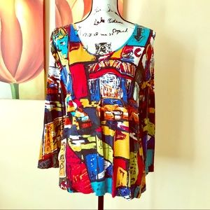 Chico's Abstract Art Top